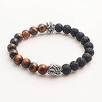 Tiger's eye and lava stone unity bracelet, 'Helping Hands Together' - Bali Sterling Silver Tiger's Eye Lava Stone Unity Bracelet