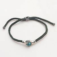 Sterling silver unity bracelet, 'Silver Blue Handshake' - Bali Silver & Reconstituted Turquoise Cord Unity Bracelet