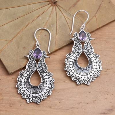 Amethyst dangle earrings, 'Sky's Heart in Purple' - Sterling Silver Dangle Earrings with Amethyst