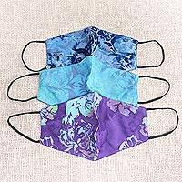 Rayon batik face masks, 'Summer Blossoms' (set of 3) - 3 Handmade Floral Batik 2-Layer Face Masks from Bali