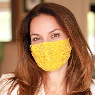 Beaded rayon lace face masks, 'Island Glamour' (set of 3) - 3 Beaded Lace Contoured 2-Layer Rayon Face Masks