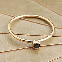 Gold plated onyx solitaire ring, 'Subtly Sweet' - Onyx Solitaire Ring in 18k Gold Plated Sterling Silver