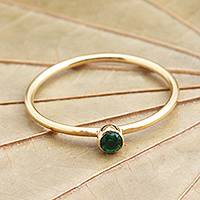 Gold plated green quartz solitaire ring, 'Subtly Sweet' - Green Quartz Gold Plated Solitaire Ring