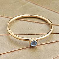 Gold plated blue quartz solitaire ring, 'Subtly Sweet' - 18k Gold Plated Solitaire Ring with Blue Quartz