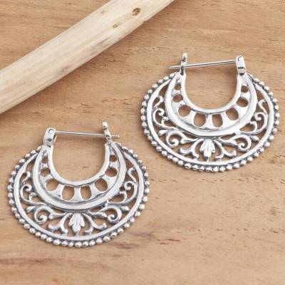 Sterling silver hoop earrings, 'Subtle Curves' - Balinese Sterling Silver Hoop Earrings