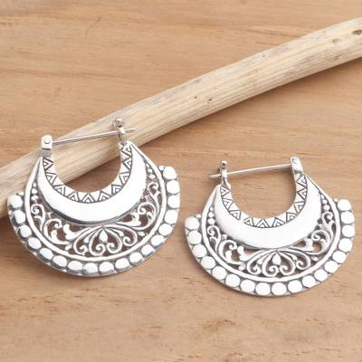 Sterling silver hoop earrings, 'Hollow Curves' - Balinese Sterling Silver Hoop Earrings
