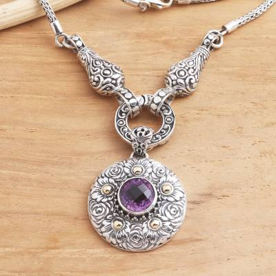 Gold-accented amethyst pendant necklace, 'Badung Wreath' - Ornate Amethyst Necklace with 18k Gold Accents