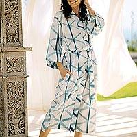 Natural dyes hand woven cotton robe, 'Web of Life' - Natural Indigo and White Print All Cotton Kimono