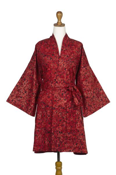 Short cotton batik robe, 'Red Floral Kimono' - Hand Made Batik Printed Cotton Robe