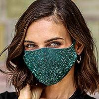 Beaded cotton face masks, 'Feeling Glamorous' (pair) - 2 Hand Beaded Cotton Contoured Masks in Green and Orange
