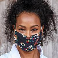 Cotton face masks 'Dreams at Midnight (set of 3) - 3 Single Layer Black Cotton Print Elastic Loop Face Masks