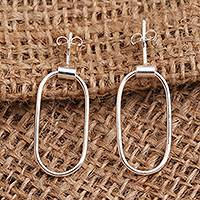 Sterling silver dangle earrings, 'Tracks' - Sterling Silver Post Hoop Earrings