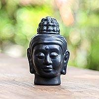 Ceramic oil warmer, 'Buddha Head' - Hand Crafted Buddha Oil Warmer from Bali