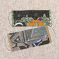 Cotton face masks, 'Island Nights' (pair) - Cotton Batik Print Pleated Nose Clip Face Masks from Bali