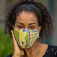 Cotton face masks, 'Island Melody' (pair) - Cotton Batik Print Contoured Nose Clip Face Masks from Bali