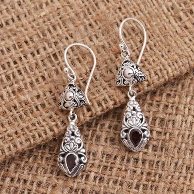 Garnet dangle earrings, 'Traditional Treasure' - Silver and Garnet Dangle Earrings from Bali