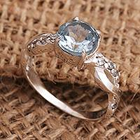 Blue topaz cocktail ring, 'Must Be Love in Blue' - Blue Topaz and Quartz Sterling Silver Ring