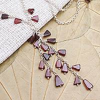 Garnet Y-necklace, 'League of Light' - Garnet Bead Sterling Silver Y-Necklace