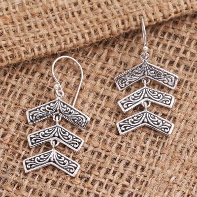 Sterling silver dangle earrings, 'Triple Arrow' - Sterling Silver Balinese Triple Arrow Dangle Earrings