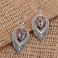Amethyst dangle earrings, 'Pair of Pears' - Balinese Sterling Silver Dangle Earrings Amethysts