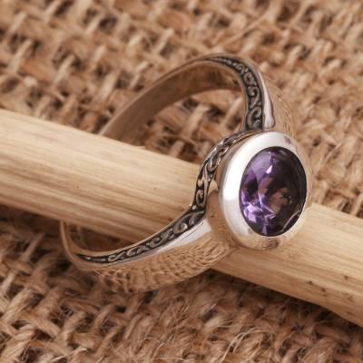 Amethyst solitaire ring, 'The Life Within' - Amethyst Solitaire Sterling Silver Ring