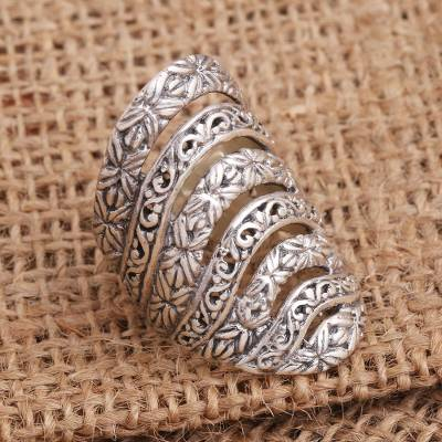 Sterling silver cocktail ring, 'Alluring Layers' - Seven Layer Sterling Silver Cocktail Ring
