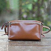 Leather shoulder bag, 'Free and Easy in Brown' - Spice Brown Genuine Leather Shoulder Bag
