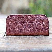Tooled leather wallet, 'Flowers of Ubud in Red' - Red Leather Wallet Tooled with Floral Designs