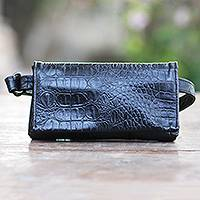 Leather shoulder bag, 'Cool Carrier in Black Croco' - Hand Made Leather Crocodile Texture Shoulder Bag