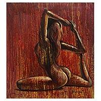 'Yoga From Zero to Hero' - Mermaid Pose Female Nude Yoga Painting from Bali