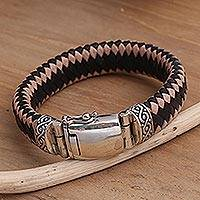 Men's sterling silver and leather braided bracelet, 'Two Brothers' - Men's Sterling Silver and Leather Braided Bracelet