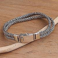 Men's sterling silver chain bracelet, 'Double Foxtail' - Men's Handmade Sterling Silver Chain Bracelet
