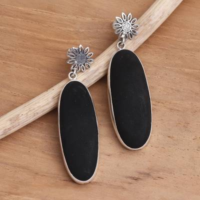 Sterling silver and black lava stone dangle earrings, Long Oval Shadow