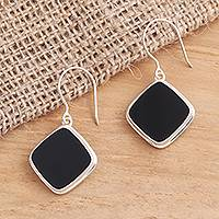 Onyx dangle earrings, 'Black Squares' - Square Bezel Set Black Onyx Dangle Earrings