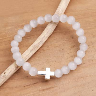 Quartz and sterling silver beaded pendant stretch bracelet, 'Faith in White' - Cross Pendant Beaded Quartz Stretch Bracelet