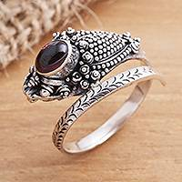 Garnet wrap ring, 'Ready to Strike' - Wrap Snake Ring with Garnet Cabochon Sterling Silver