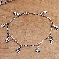 Sterling silver charm anklet, 'Floral Gleam' - Hand Made Sterling Silver Floral Charm Anklet
