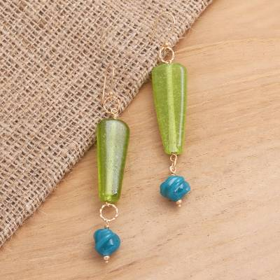 Gold plated glass beaded dangle earrings, 'Java Jungle' - Long Glass Beaded Gold Plated Earrings