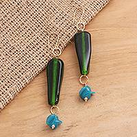 Gold plated glass beaded dangle earrings, 'Java Forest' - Green and Blue Glass Beaded Dangle Earrings