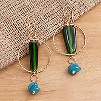 Gold plated glass beaded dangle earrings, 'Java Forest Trek' - Bottle Green and Blue Beaded Gold Plated Earrings