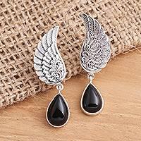 Onyx dangle earrings, 'On the Wings of Midnight' - Onyx Sterling Silver Dangle Earrings Wings