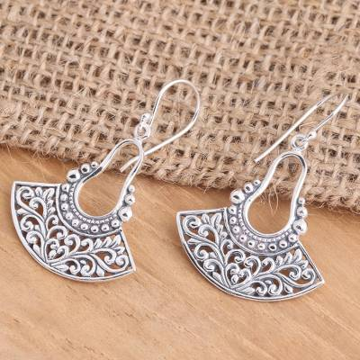 Sterling silver dangle earrings, 'Tendrils of Spring' - Balinese Sterling Silver Dangle Earrings