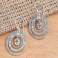 Blue topaz dangle earrings, 'Inner Circles in Blue' - Concentric Circle Blue Topaz Earrings Balinese Motif
