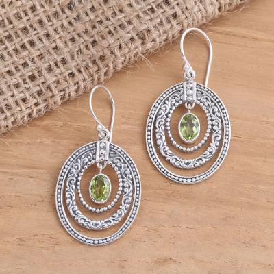 Peridot dangle earrings, Inner Circles in Green