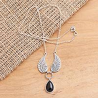 Onyx pendant necklace, 'Fanciful Flight' - Black Onyx and Sterling Silver Wings Pendant Necklace