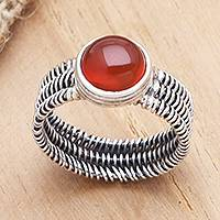 Carnelian single stone ring, 'Wrapped Up in Fire' - Wire Wrapped Sterling Silver Carnelian Ring