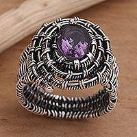 Amethyst cocktail ring, 'Guarded Wire in Purple' - Handmade Amethyst Sterling Silver Cocktail Ring