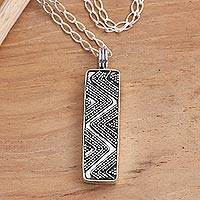 Sterling silver pendant necklace, 'Striking Lightning' - Hand Crafted Sterling Silver Pendant Zig Zag Necklace