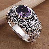Amethyst signet ring, 'Woven Vines' - Amethyst and Sterling Silver Signet Ring