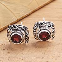 Garnet button earrings, 'Leaves of Bamboo in Red' - Garnet and Sterling Silver Button Earrings Bamboo Leaf Motif